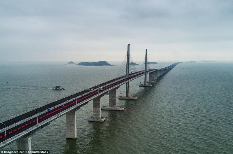 Мост соединит Гонконг, Чжухай и Макао гонконг, длина, китай, море, мост, путь, рекорд, строительство