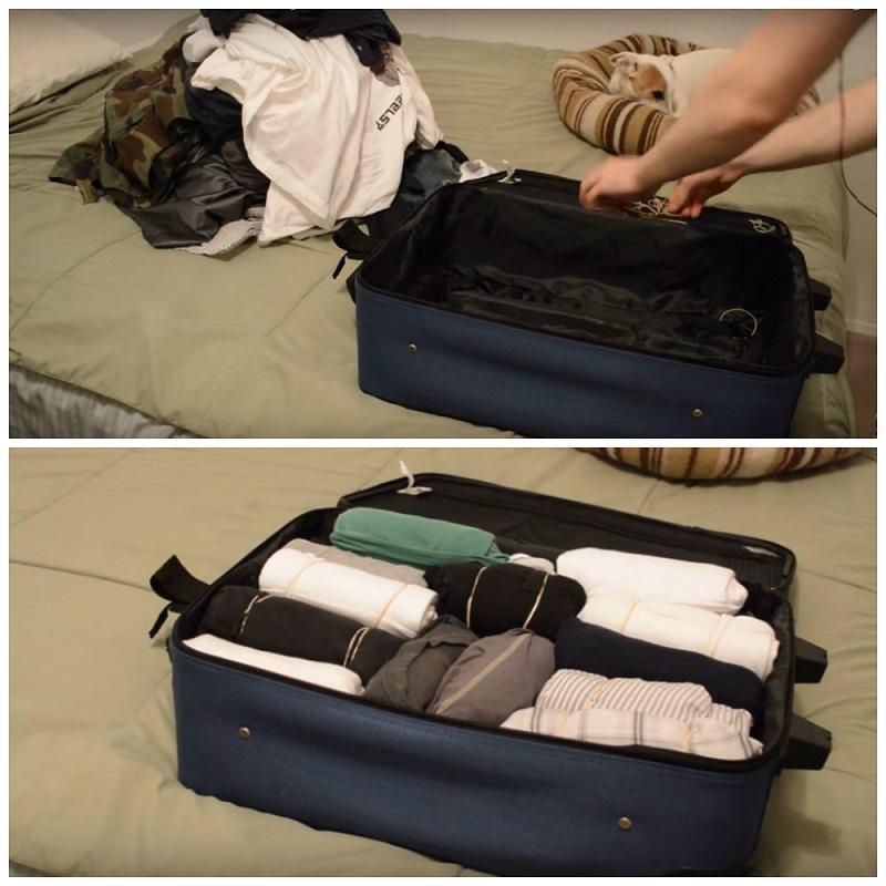 Хитрый способ упаковать чемодан. Теперь могу взять с собой в два раза больше вещей!