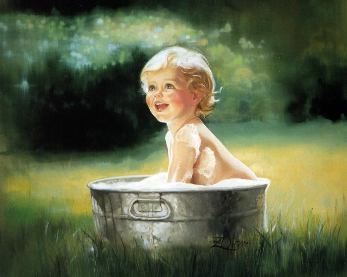 Водные процедуры во дворе. Автор: Donald Zolan.