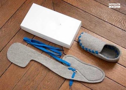 Войлочные домашние тапочки - быстро, легко и оригинально.