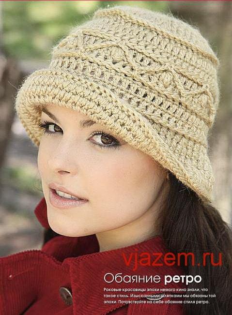 Милая женская шляпка крючком