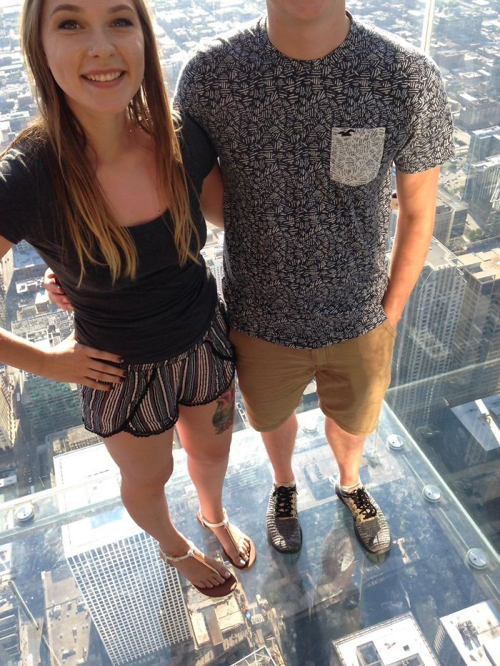 We Asked A Stranger To Take A Picture Of Us At The Willis Tower In Chicago... Thanks, I Guess