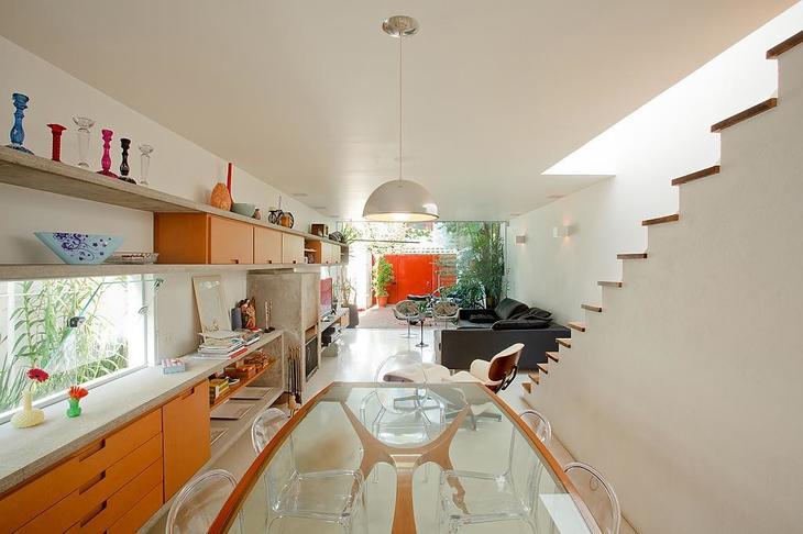 оранжевая кухня дизайн интерьера