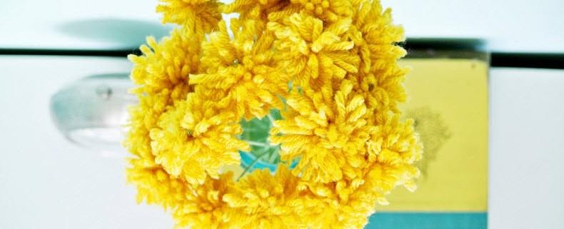 Цветы из пряжи