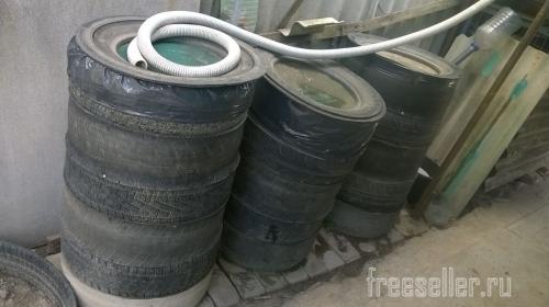 Самодельная бочка для воды из старых шин
