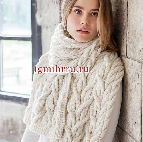 теплый шарф с косами