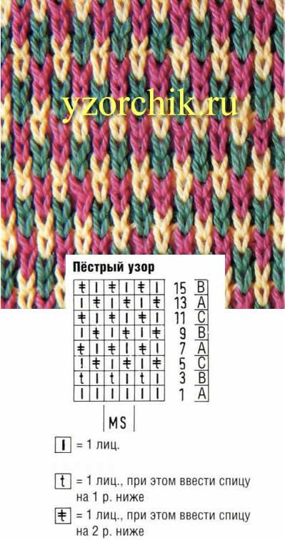 Схемы узоров цветного вязания спицами 21