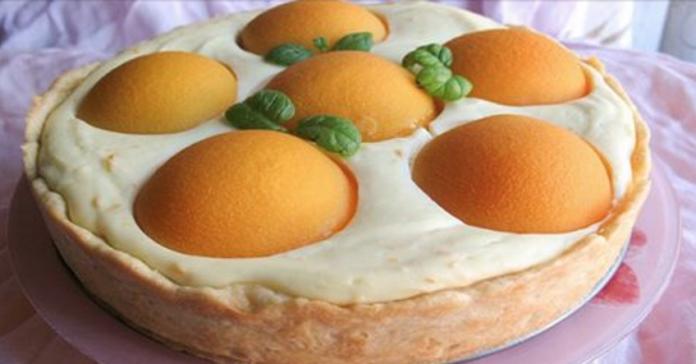 Песочный пирог с персиками - нежный со сливочным вкусом