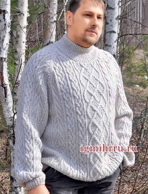 свитер с аранами для крупного мужчины