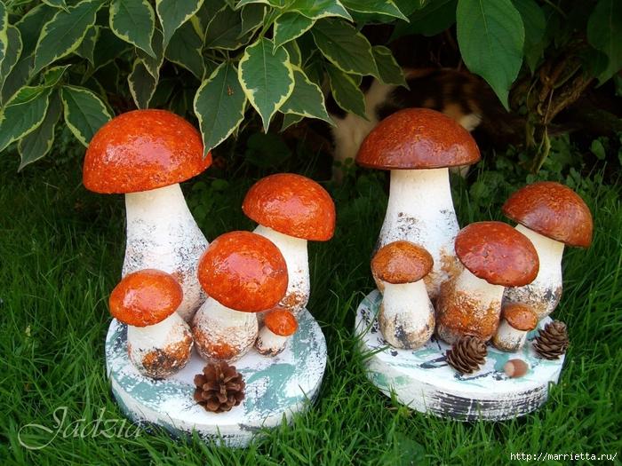 Как сделать грибочки из пенопласта и монтажной пены (4) (700x525, 385Kb)