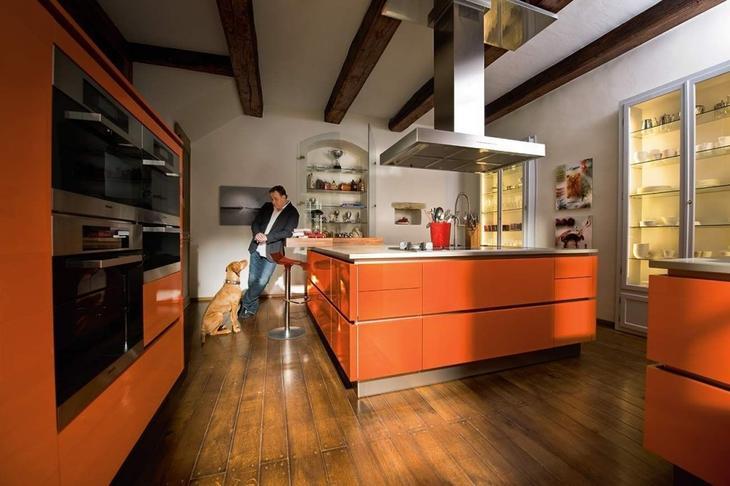 оранжевая кухня дизайн