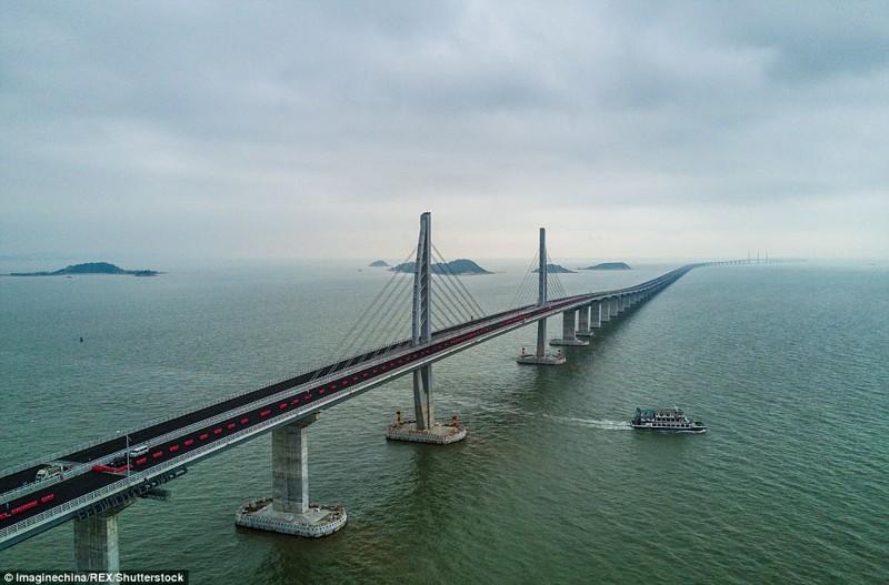 Мост будет введен в эксплуатацию к концу этого года гонконг, длина, китай, море, мост, путь, рекорд, строительство