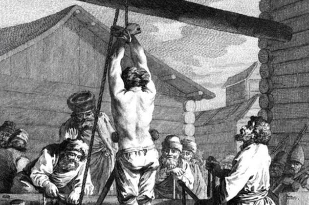 Пытки Российские самодержцы часто использовали жестокие пытки для укрепления своей власти. Иван Грозный был известен (помимо всего прочего) изобретением специальной гигантской сковороды, на которой запекал своих врагов живьем. Императрица Елизавета предпочитала рвать недругам языки, Петр I порол провинившихся жесткой кожаной плетью, снимавшей по сантиметру кожи одним ударом.