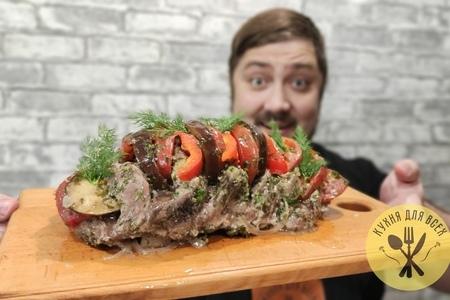 Свиная шея в духовке с овощами: фото шаг 3