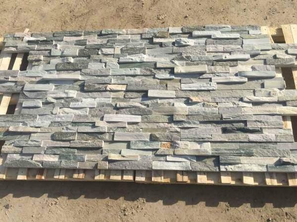 Фасад из натурального камня - отделка панелями из шпона