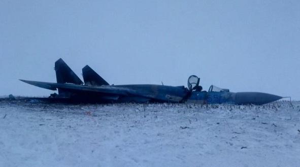Появились фото разбившегося наУкраине Су-27