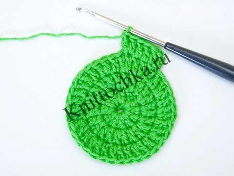 Вязание крючком по кругу столбиком с накидом крючком
