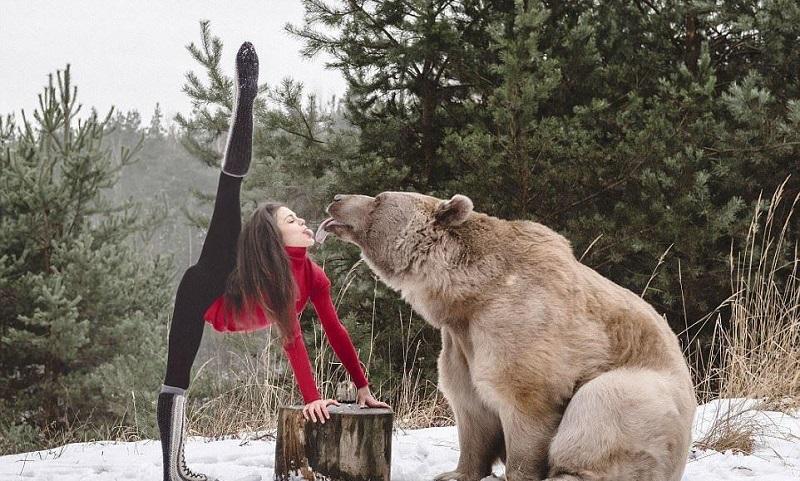 Фотосессия австрийской гимнастки с бурым медведем стала яблоком раздора в Интернете