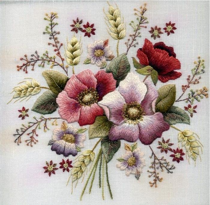 Красивая вышивка гладью испански Margaret Cobleigh