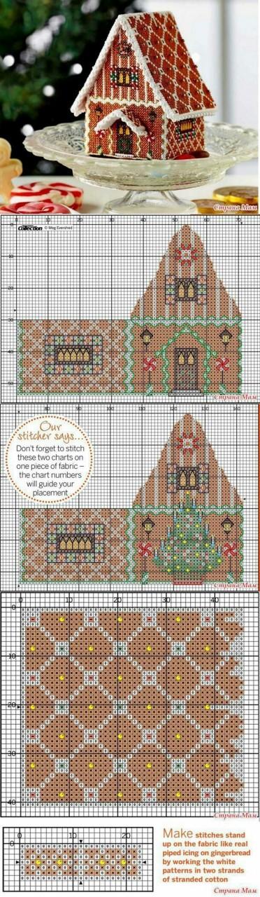 Схема вышивки пряничного домика