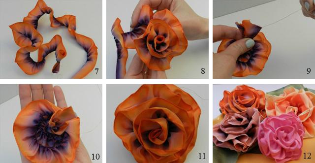 Как сделать розу из ленты с жесткими краями