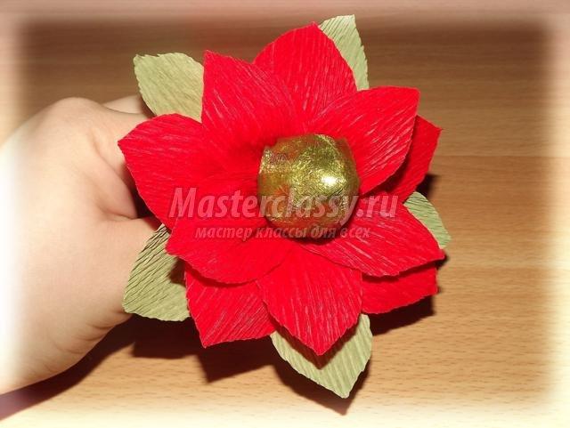 Цветы из гофробумаги с конфетами своими руками мастер класс видео