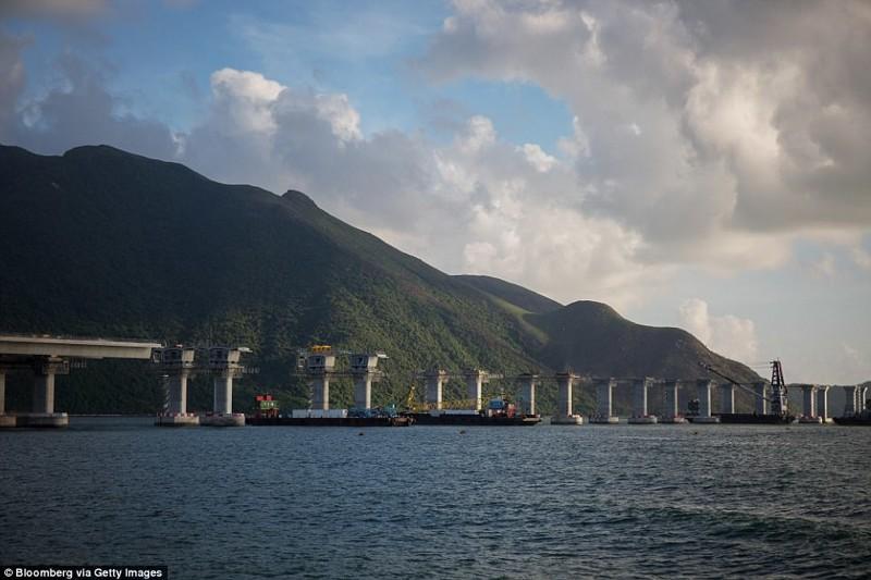 Сооружение в 2015 году гонконг, длина, китай, море, мост, путь, рекорд, строительство