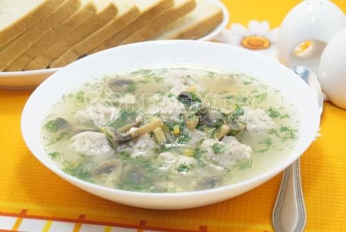 Суп с грибами и тефтелями