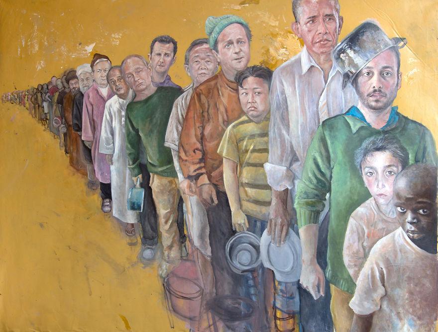 Мировые лидеры в образе беженцев