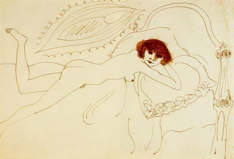 Пабло Пикассо. Лежащая обнаженная. 1901 год