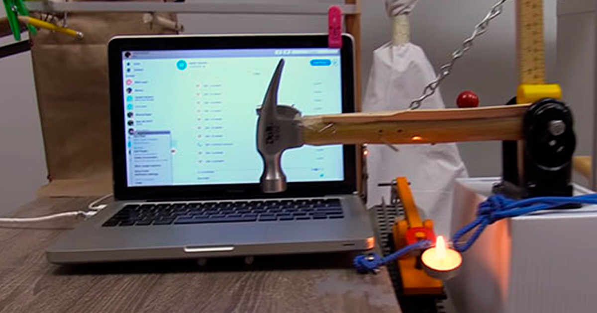 Man Who Is Known For His Bizarre Inventions, Strikes Again With A Chain-Reaction Machine