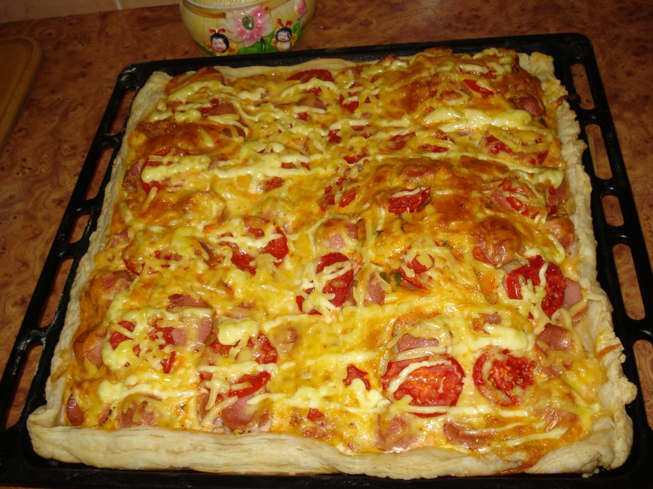 Рецепт пиццы на слоеном тесте в духовке в домашних условиях пошагово