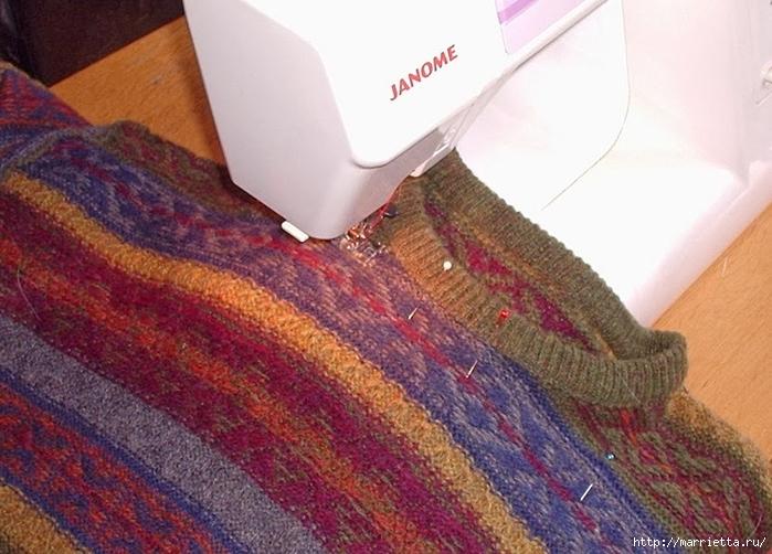 Cuna de gato de un viejo suéter.  Clase magistral (1) (700x502, 274KB)