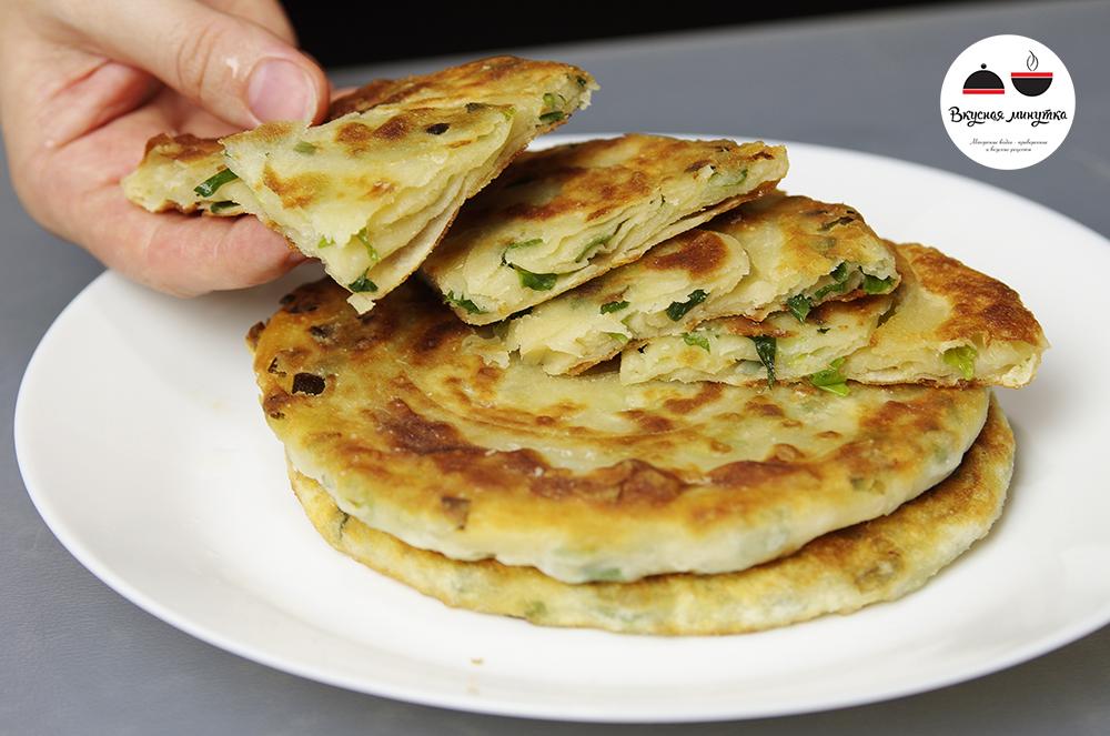 Быстрый завтрак - слоеные лепешки с зеленым луком