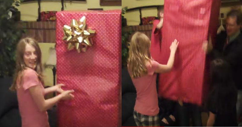Приемная дочь получила на Рождество огромную коробку. Когда она распаковала подарок, никто не смог сдержать слезы!