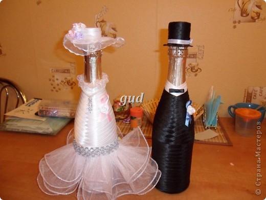 Декор предметов Мастер-класс Свадьба Аппликация Свадебные бутылочки и МК Ленты фото 19