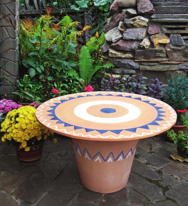 Мастер-класс : садовый столик из большого горшка
