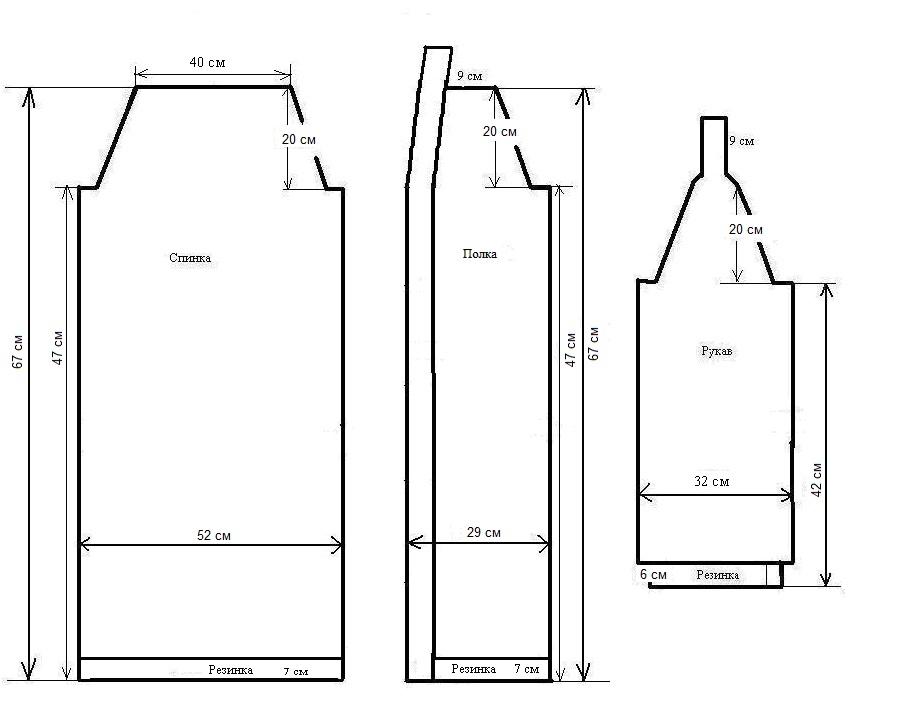 Схема выкройки кардигана с вафельным узором