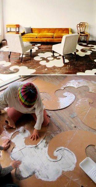 Ручная роспись деревянного пола