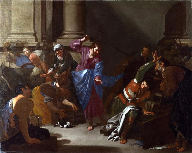 Бернардо Каваллино - Изгнание торгующих из храма. Национальная галерея, Часть 1