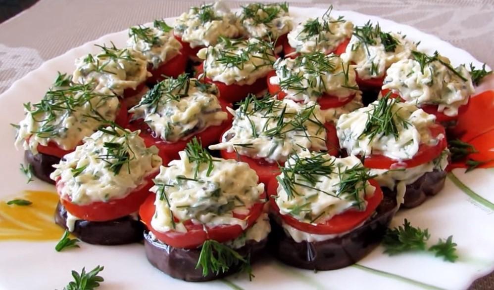 Ароматная и вкусная закуска из баклажанов и помидоров на праздничный стол!