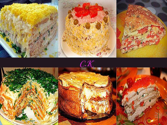 6 закусочных тортов на новогодний стол