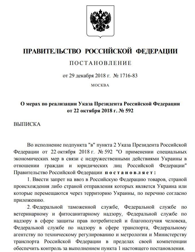 Украинские товары запрещенные к ввозу на территорию РФ