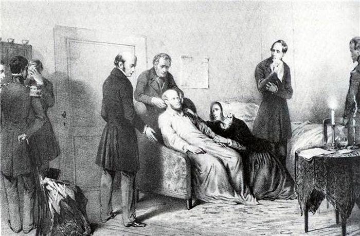Анна Павловна у постели умирающего мужа. Гравюра середины 19 в. / Фото: www.blogspot.ru