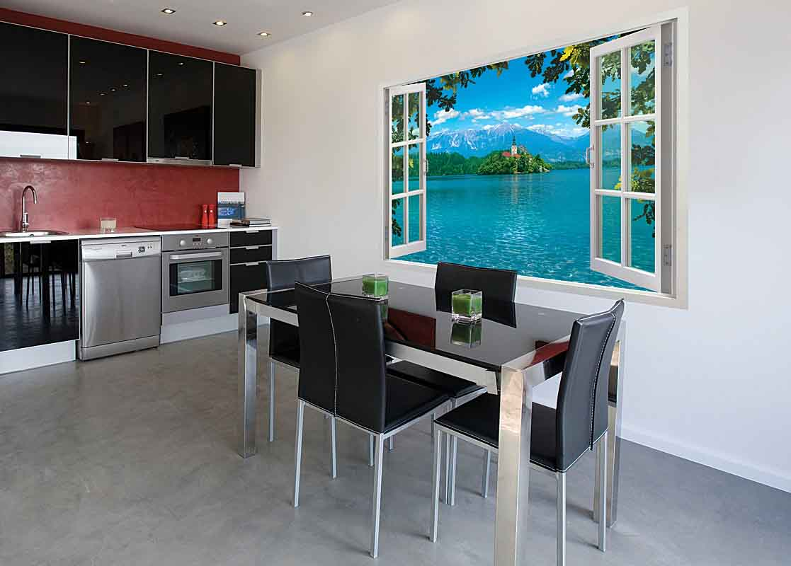 Дизайн кухни с окном на всю стену