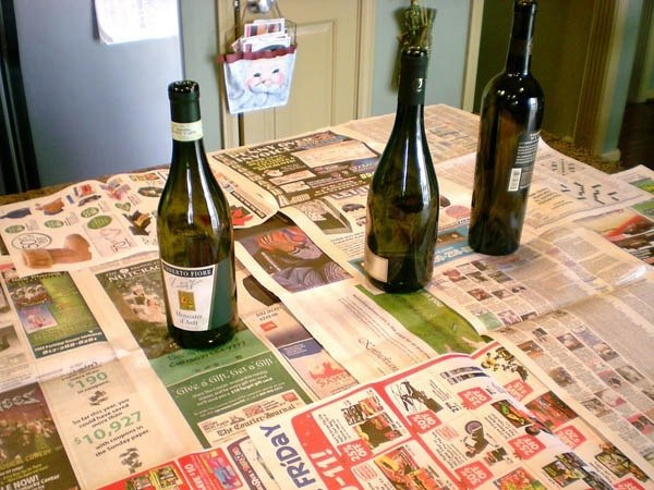 Зимний декор бутылки 3