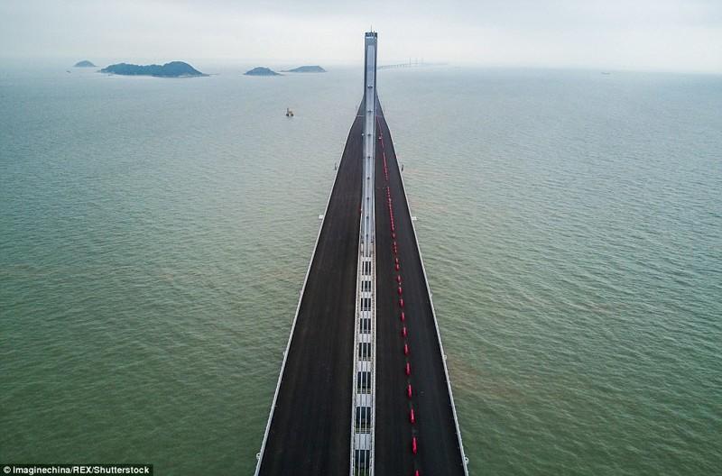 Вид с воздуха на самый длинный мост в мире гонконг, длина, китай, море, мост, путь, рекорд, строительство