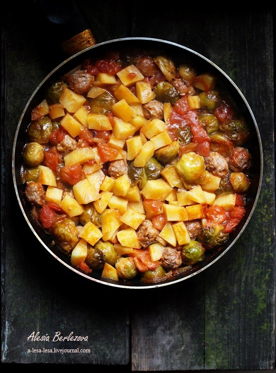 Быстрый ужин: капуста брюссельская с фрикадельками