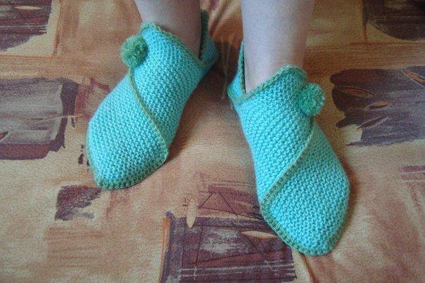 Очень необычный и простой способ вязания тапок. МК