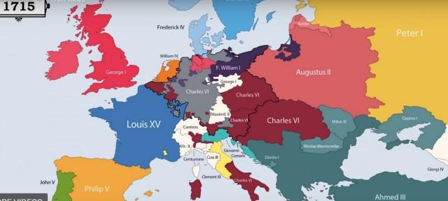 Все правители Европы за последние 2400 лет в анимированной карте (с 400 г. до н. э. по 2017 г.)